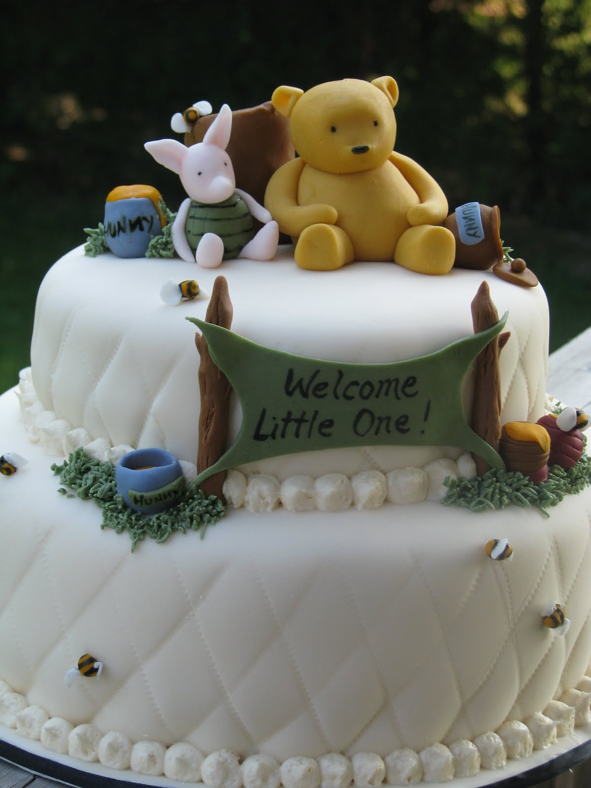 velvet cake was made for a classic winnie the pooh themed baby shower