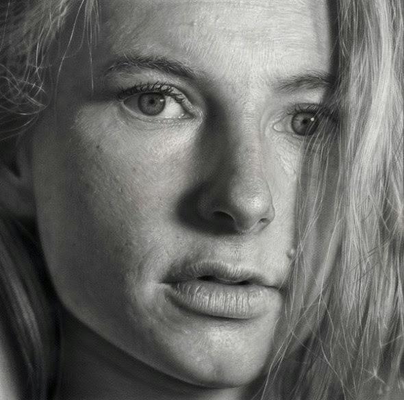 Dirk Dzimirsky pinturas hiper-realistas retratos preto e branco foto realista