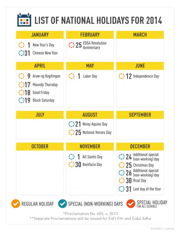 national holidays 2014