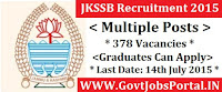JKSSB Recruitment 2015