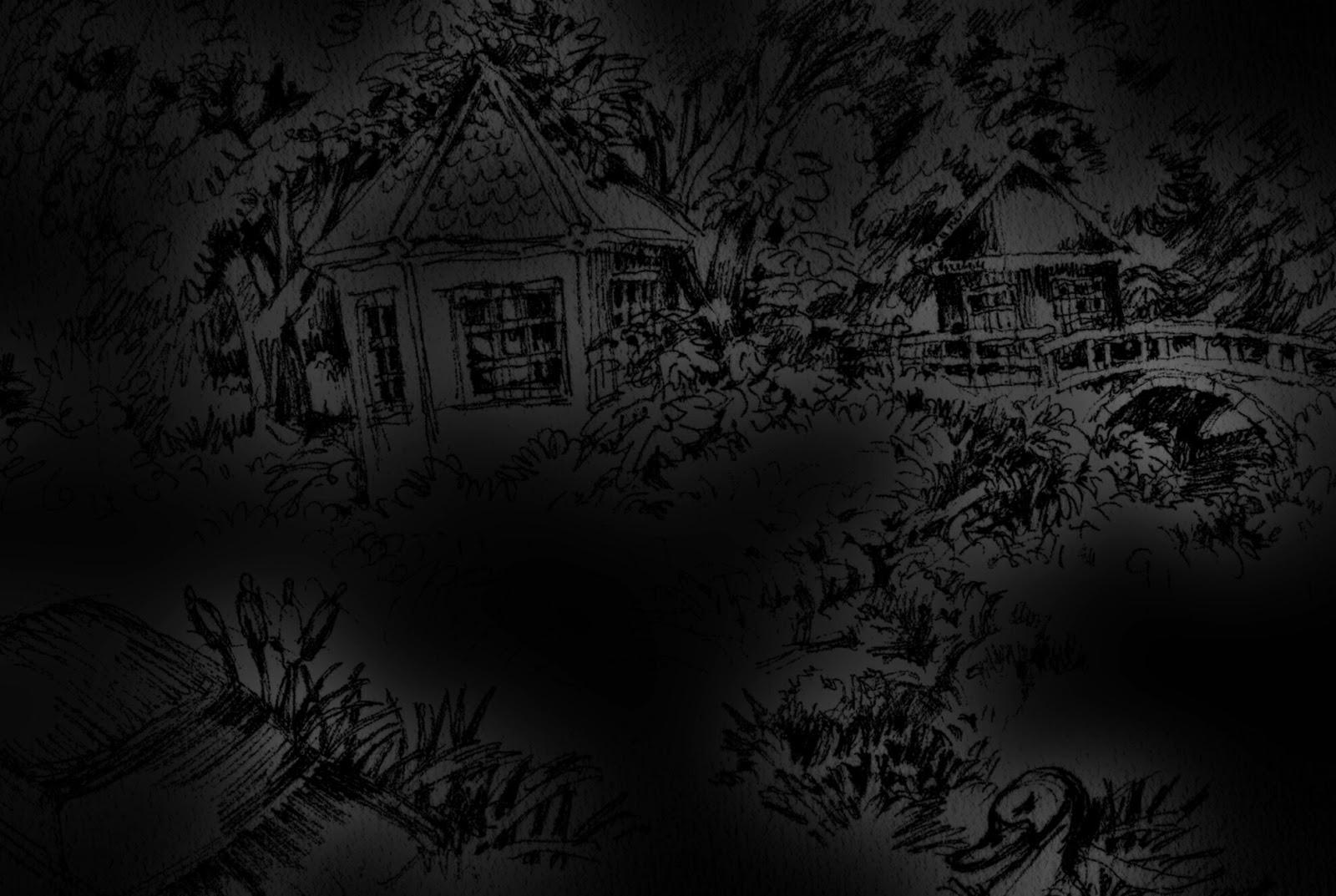 Kunst, Odenwald, Zeichnung, Nacht, Radierung, Bach, Ente, Deutschland, Odenwaldschule, gespenstisch, Schatten, Dämmerung, dämmert, Ufer, Hütte, Brücke