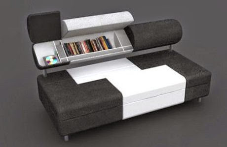 compact couch with smart shelves design