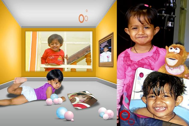 baby girl child playing with baloons a album design