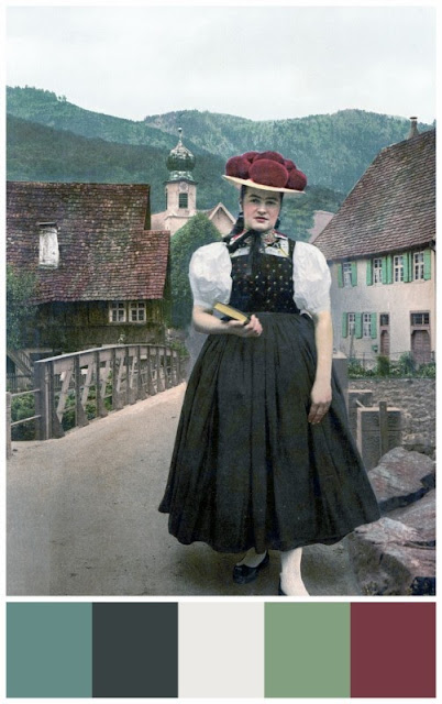 Black Forest lady circa 1900 with color palette
