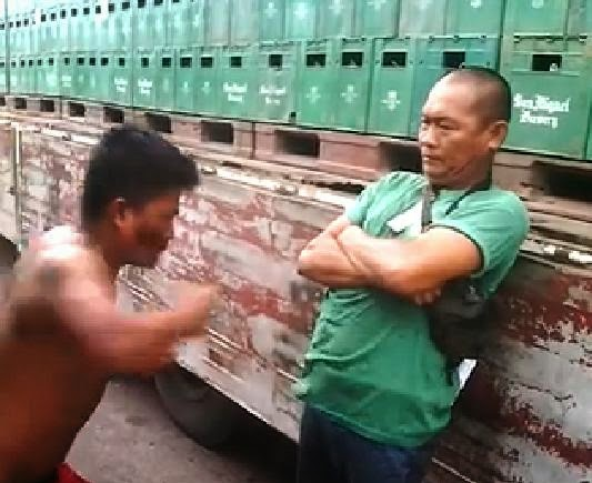 old man truck driver punched in the stomach