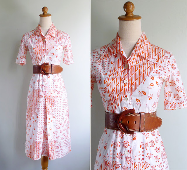vintage 70's white collared shirt dress