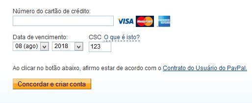 Criar uma conta no PayPal sem cartão de crédito