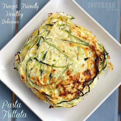 Spaghetti Frittata - low fat, gluten free, healthy, freezer friendly