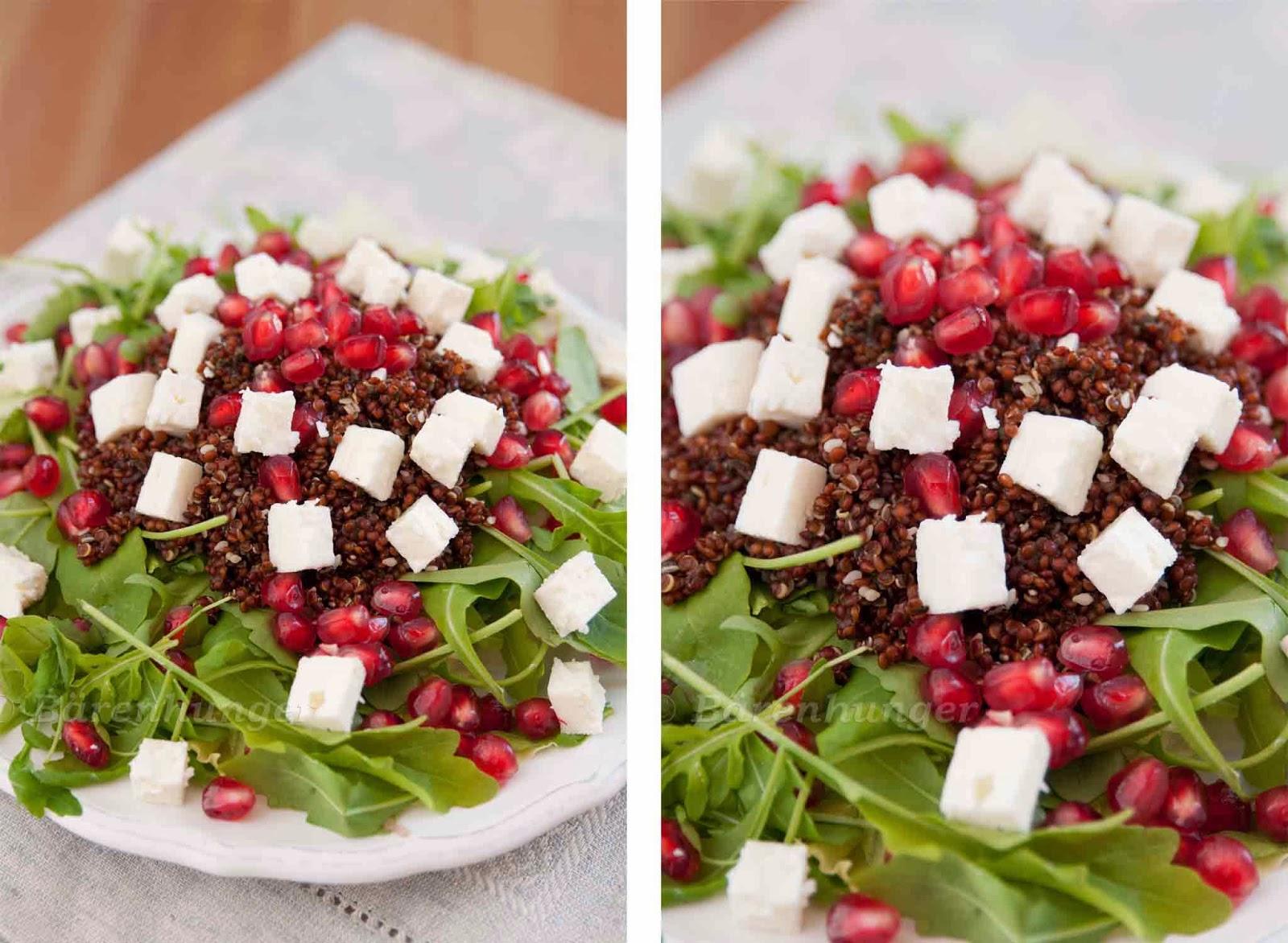 salat mit quinoa feta und granatapfel kernen b renhunger. Black Bedroom Furniture Sets. Home Design Ideas