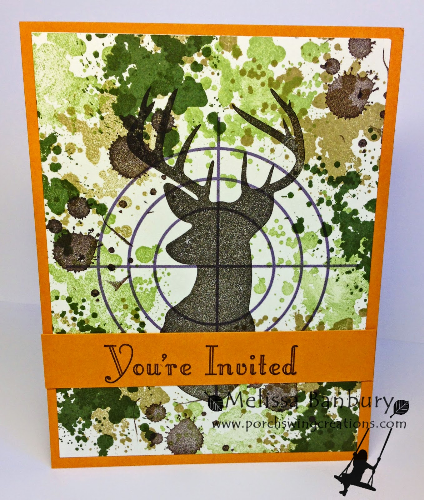 porch swing creations on target  hunting/camouflage birthday party, Birthday card
