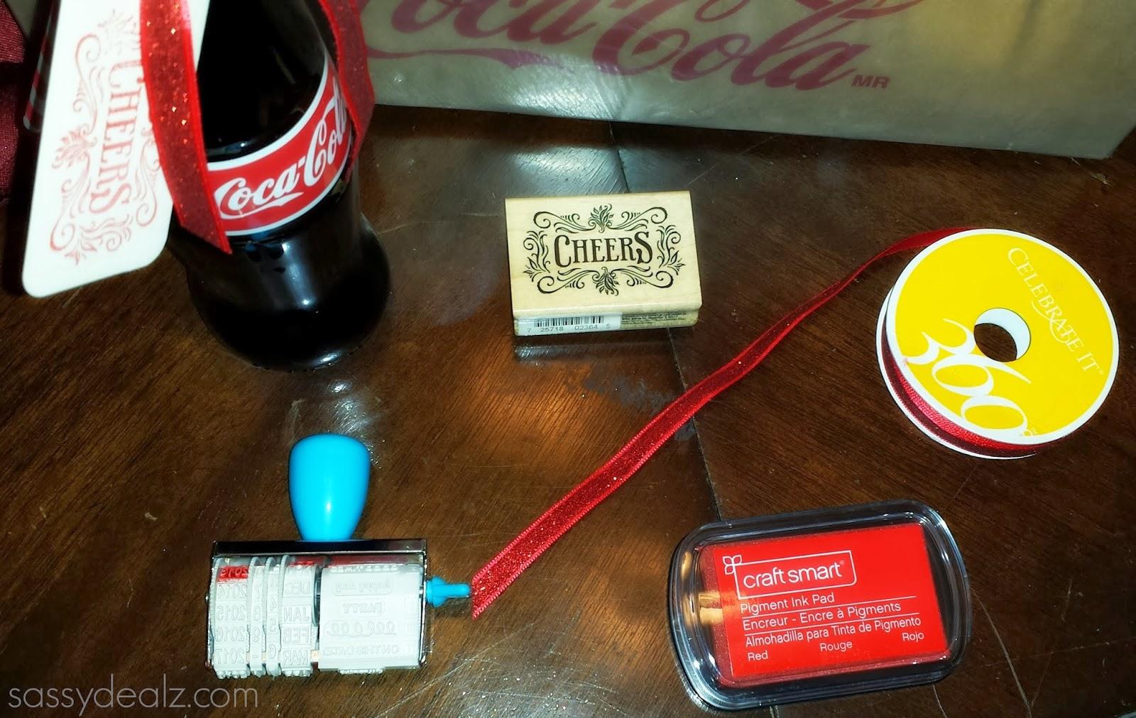 diy stamp coca cola bottle wedding favors
