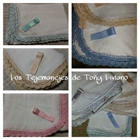 Los tejemanejes de Toñy Liviano: Gasas decoradas para el bebé