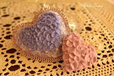 felt heart with beads