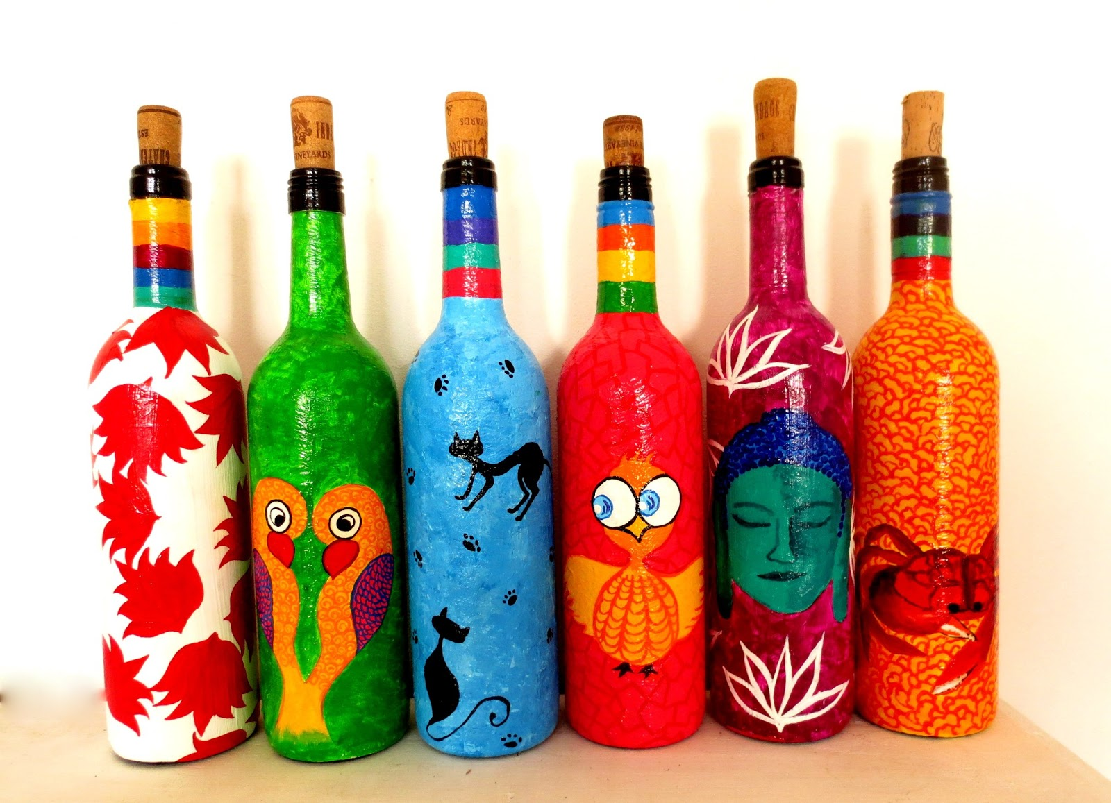 Pyjama party studio recycle reuse rehydrate hand painted for Hand painted bottles