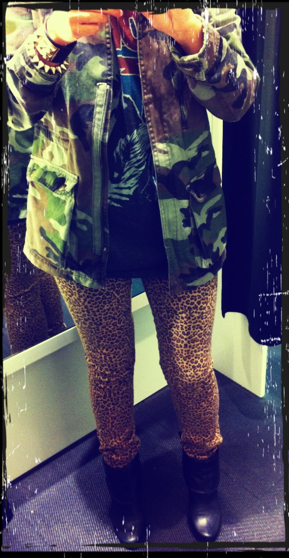 Bracelet Gina Tricot, Camo jacket pull and bear, leopard print slim pant gina tricot, Gina Tricot ring