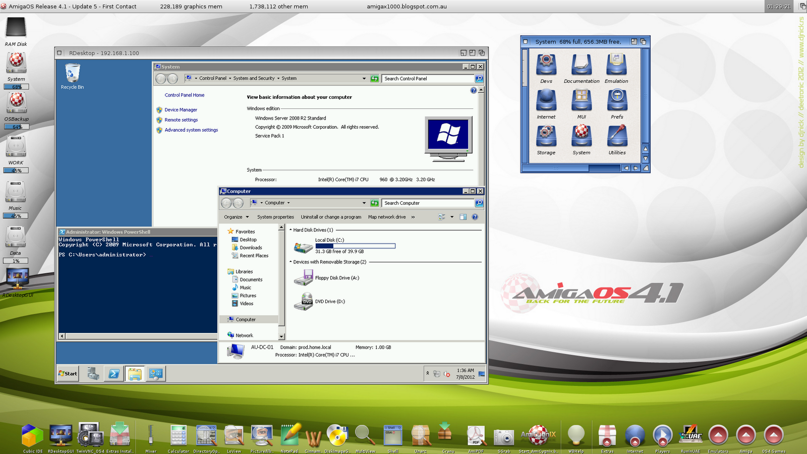 systems like macos x or linux etc you can use vnc server installed on those computers with twinvnc on your x1000 to connect to them remotely