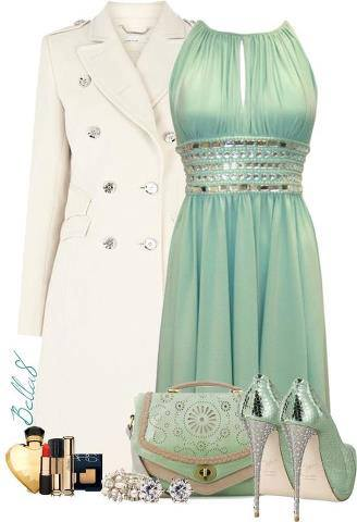 Off white jacket, gown, high heel shoes and hand bag for ladies