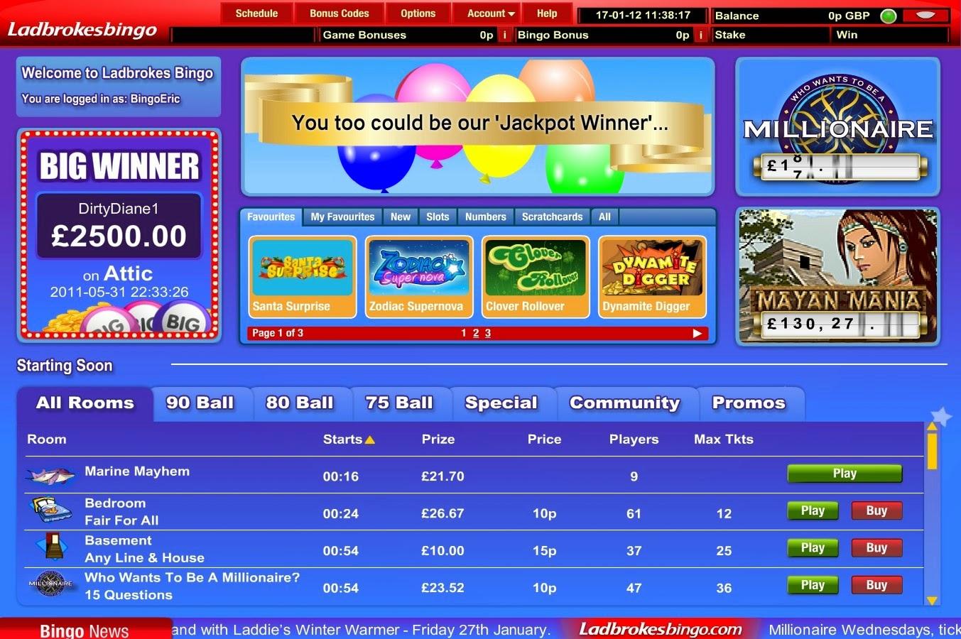 Ladbrokes 90 Ball Bingo Screen