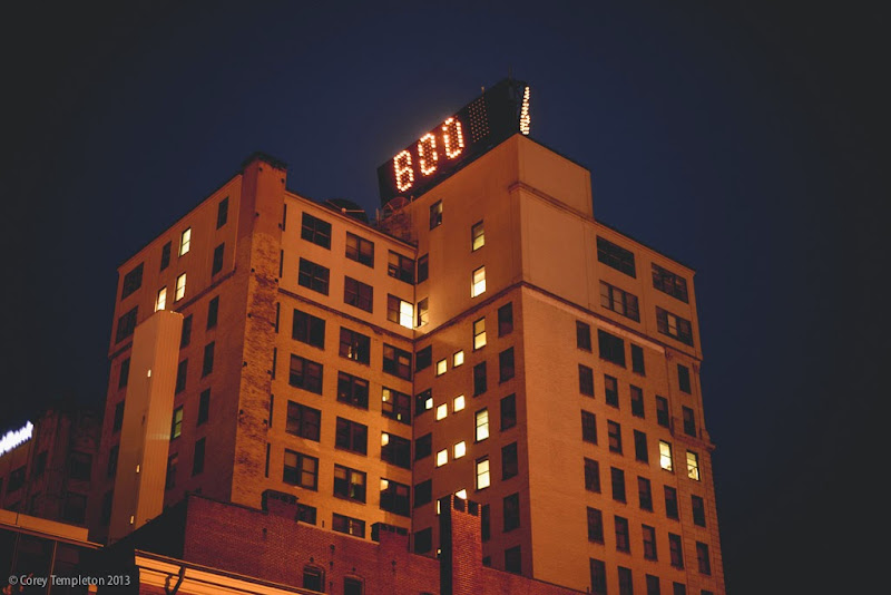 Portland, Maine Time & Temperature Building Halloween Boo photo by Corey Templeton