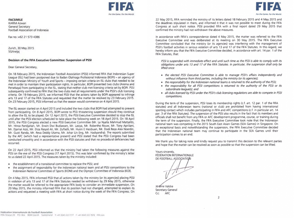 Surat Sanksi FIFA Untuk Indonesia