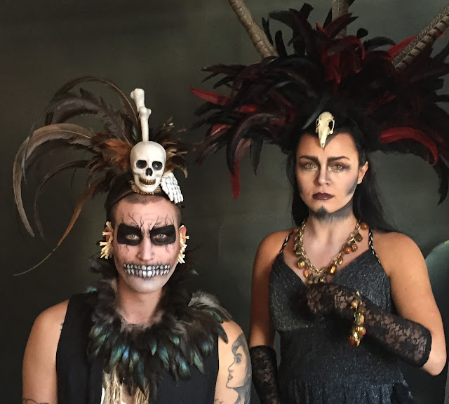 Mystic Magic, Halloween, New Orleans, mardi gras, day of the dead, skull, headdress, artistry, feathers, bones, spooky, horror, studio photography, backstage photography, behind the scenes, photo, scary, voodoo, witch doctor, witch, ghostly, living dead, photo shoot,