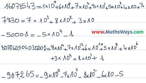 تصحيح التمرين المقترح حول تفكيك عدد صحيح نسبي في نظمة العد العشري