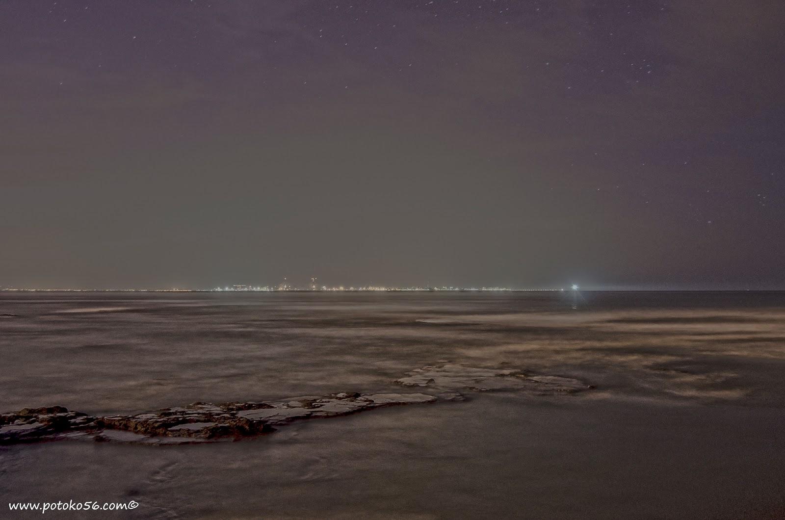 Cadiz en la madrugada desde la playa del Chorrillo en Rota