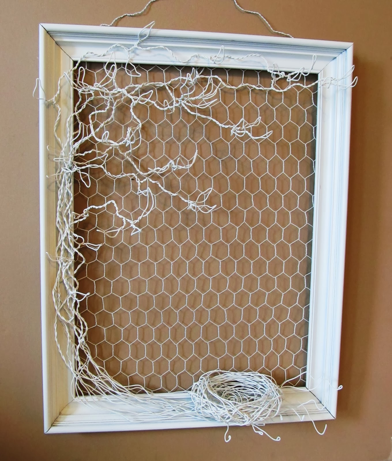 Wire jewelry tree  in frame