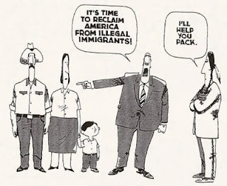 Cartoon depicting pandering, hypocrisy on immigration