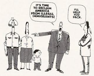Cartoon depicting pandering, hypocrisy on immigration