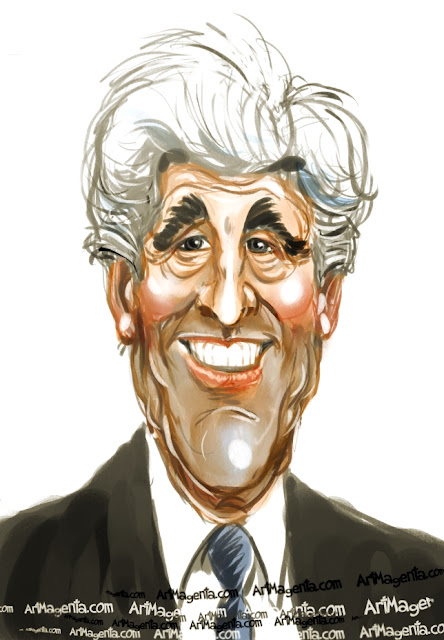 John Kerry caricature cartoon. Portrait drawing by caricaturist Artmagenta