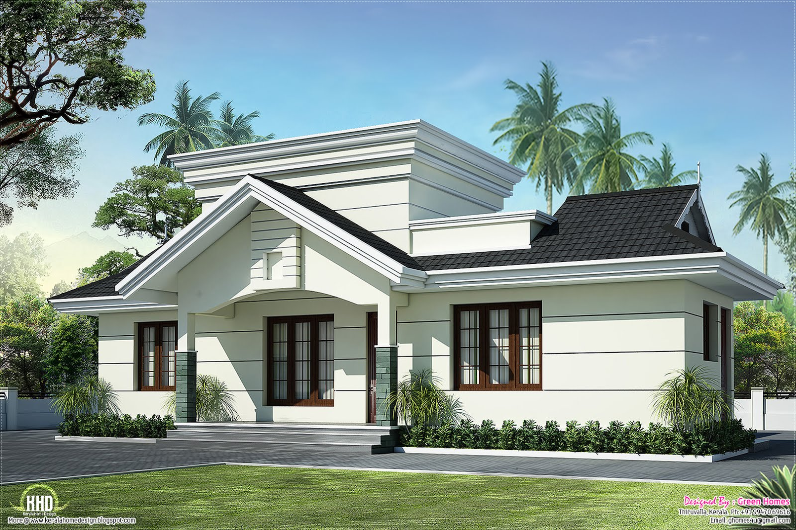 Nano home plan and elevation in 991 square feet kerala for Square home plans