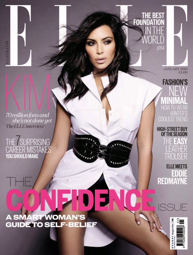 Kim Kardashian shows off curves for Elle UK January 2015 issue