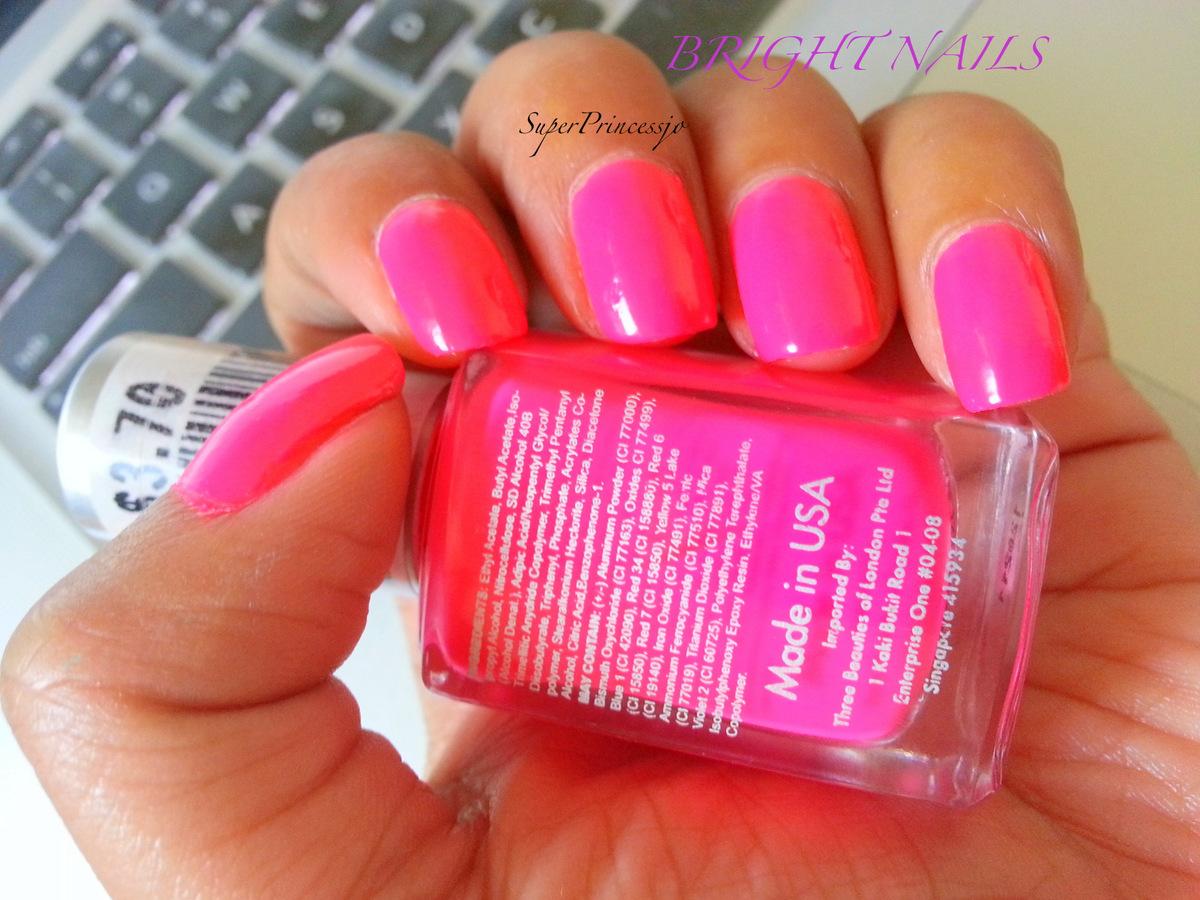 superprincessjo : bright neon pink nail polish three beauties neon