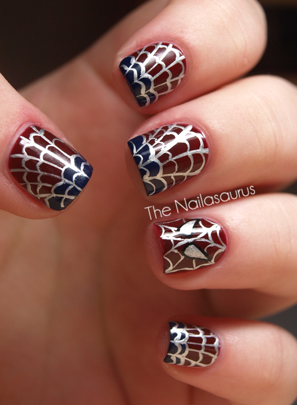 The amazing spider nails spider man nail art the nailasaurus i used cult nails quench as a base then freehanded the tips with cult nails time traveller using a nail art brush all the details are also freehanded with prinsesfo Gallery