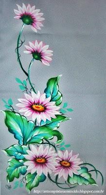 pintura em tecido ramo de flores