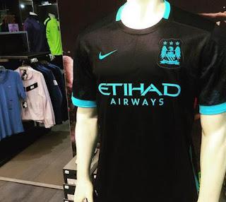 Jersey Tandang Manchester City 2015/2016 gambar nyata jersey musim depan Jersey Tandang Manchester City 2015/2016
