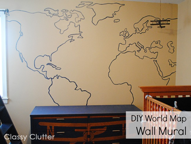 Diy world map wall mural classy clutter gumiabroncs Gallery