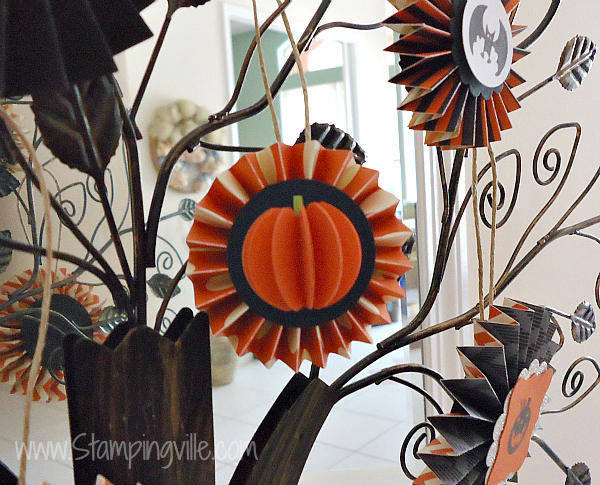 3-D Paper Pumpkin with rosette
