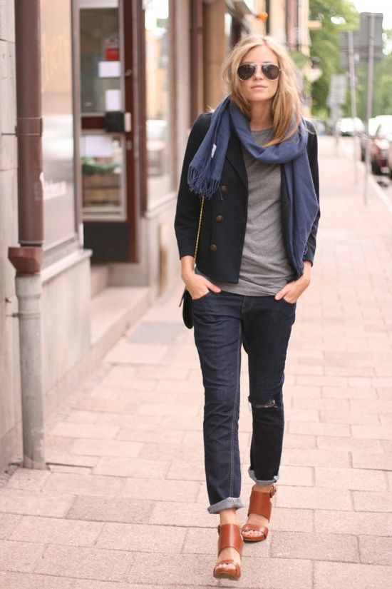 Scarf, dark blue blazer, grey sweater, jeans, brown sandals and hand bag for ladies