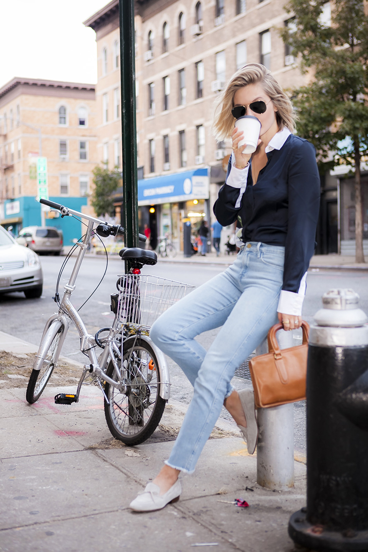 Fashion Over Reason Frame Denim, JCrew loafers, Altuzarra x Target blouse, Coach bag, Ray-Ban aviators