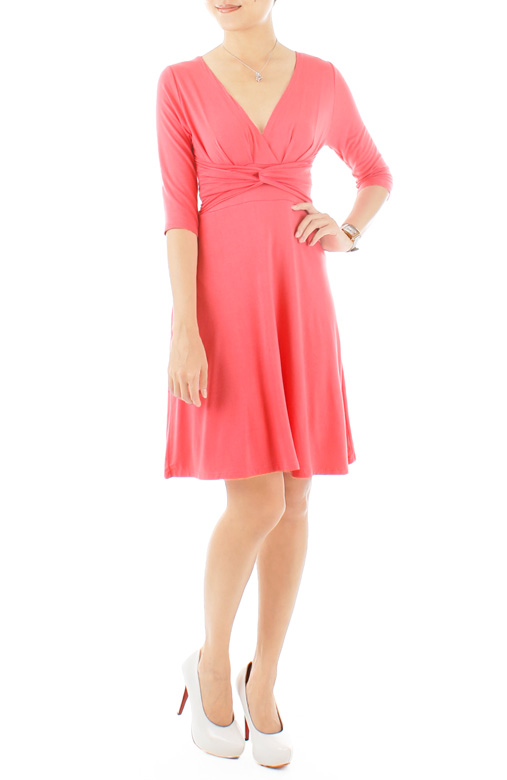 """Royal Engagement"" Dress with ¾-Length Sleeves – Cherry Pink"