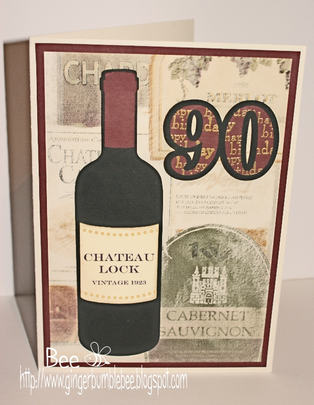 Beehive bits and pieces 90th birthday wine bottle card 90th birthday wine bottle card bookmarktalkfo Image collections