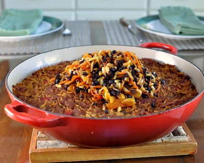 Afghan Beef & Rice Casserole ♥ KitchenParade.com, slow cooker shredded beef, caramelized onions, roasted peppers, great for feeding a crowd.