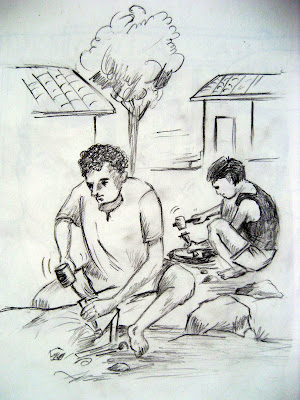 Men at Work - Sketch by Prem Gaire