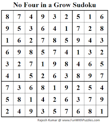 No Four in a Grow Sudoku (Daily Sudoku League #111) Solution