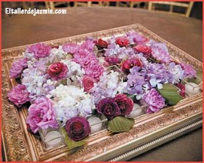 Cuadro decorativo con hortensias y rosas secas