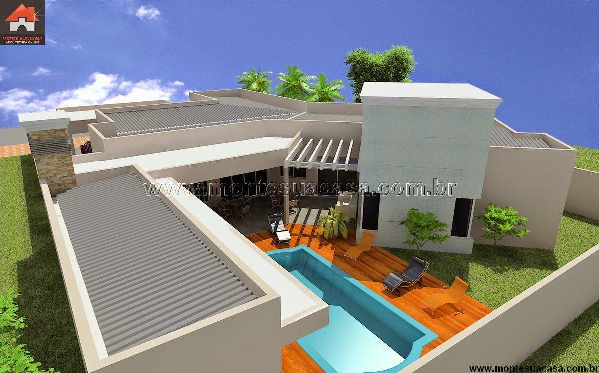 Projeto de casa t rrea de 200 m for Piscinas de 2 metros