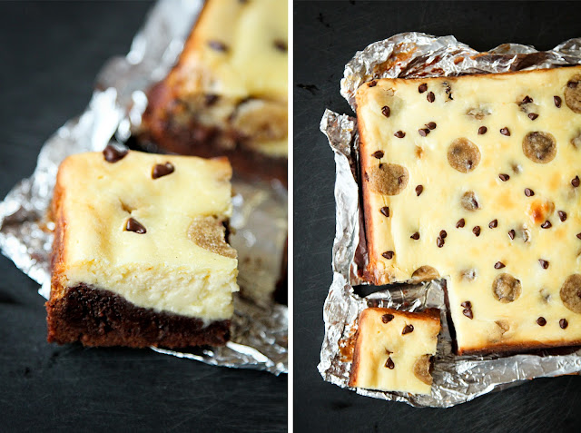 Slice Of Cookie Dough Cheesecake Brownies