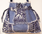 Drawstring Denim Ragged Tote Bag Purse Hawaiian Prints